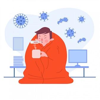 Młody człowiek lub chłopiec lub mężczyzna lub osoba lub postać mająca gorączkę i zimno zakrywająca koc. pojęcie choroby. ilustracja płaska konstrukcja. odosobniony.