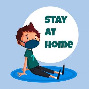 Młody człowiek ma relaks podczas pobytu w domu