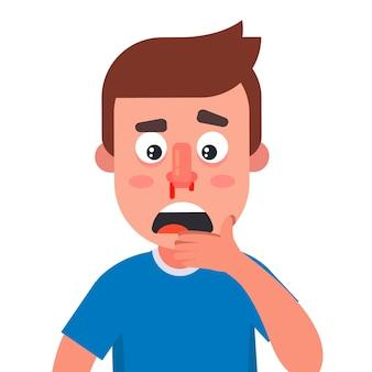 Młody człowiek miał krwawienie z nosa. zranić się w nos.