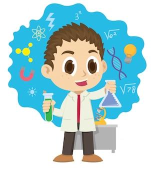 Młody człowiek miesza składniki chemiczne
