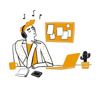 Młody człowiek myśli i słucha swojej ulubionej piosenki ze słuchawkami