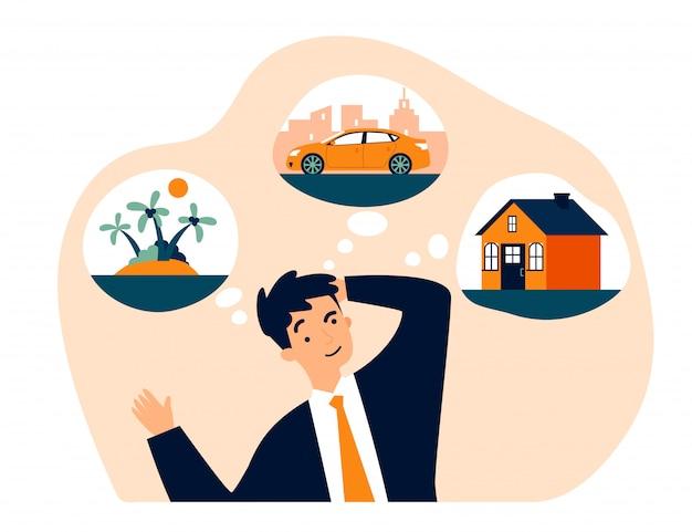 Młody człowiek myśli o nowym domu, samochodzie i podróży