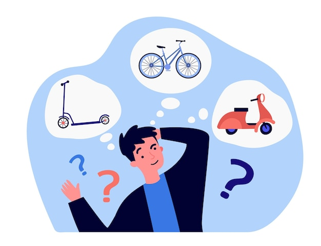 Młody człowiek myśli o środkach transportu. ilustracja wektorowa płaski. facet kreskówka wybierając między skuterem, rowerem i motocyklem. koncepcja pojazdu, jazdy, przygody do projektowania banerów lub strony docelowej