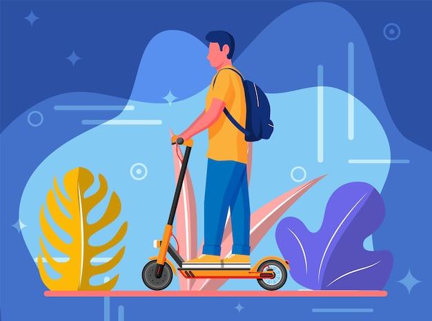Młody człowiek na hulajnodze. facet z plecakiem toczący się na hulajnodze elektrycznej. hipsterska postać korzysta z nowoczesnego transportu miejskiego. ekologiczny, wygodny transport miejski. ilustracja kreskówka płaski wektor
