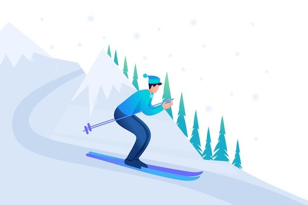 Młody człowiek na nartach w święta bożego narodzenia, zimowe zabawy.