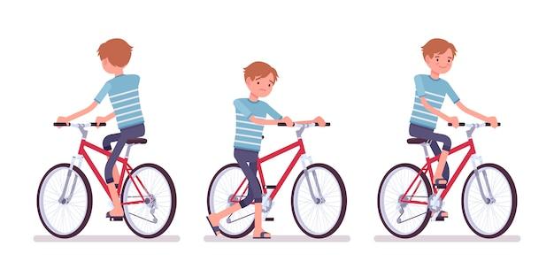 Młody człowiek na rowerze na rowerze
