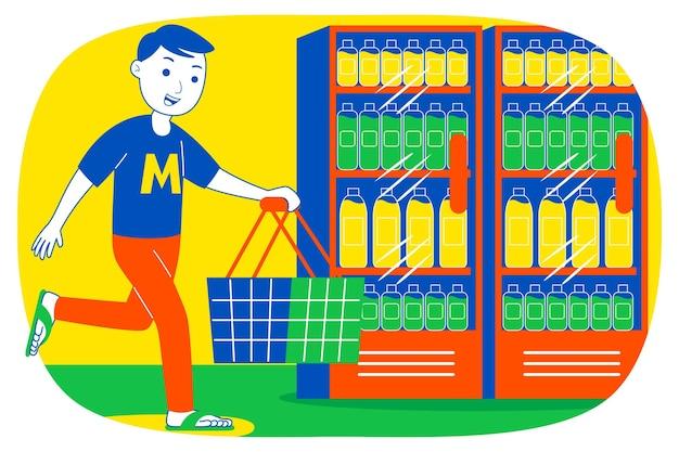 Młody człowiek na zakupy w supermarkecie.