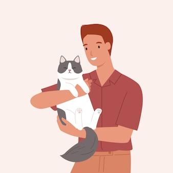 Młody człowiek niesie ślicznego kota. portret szczęśliwy właściciela zwierzaka. ilustracja wektorowa w stylu płaski
