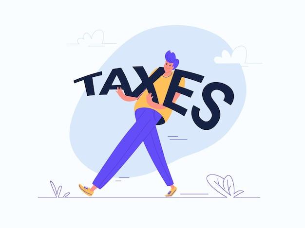 Młody człowiek niosący słowo ciężkich podatków jako podatnik. ilustracja wektorowa płaski nowoczesny koncepcja obciążeń finansowych i zobowiązań finansowych w trakcie życia. casualowy projekt na białym tle