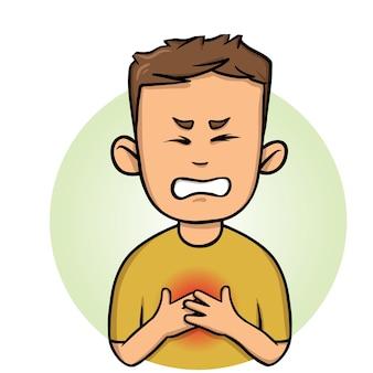 Młody człowiek odczuwa ból w klatce piersiowej, zawał serca. kolorowa ilustracja płaski. na białym tle
