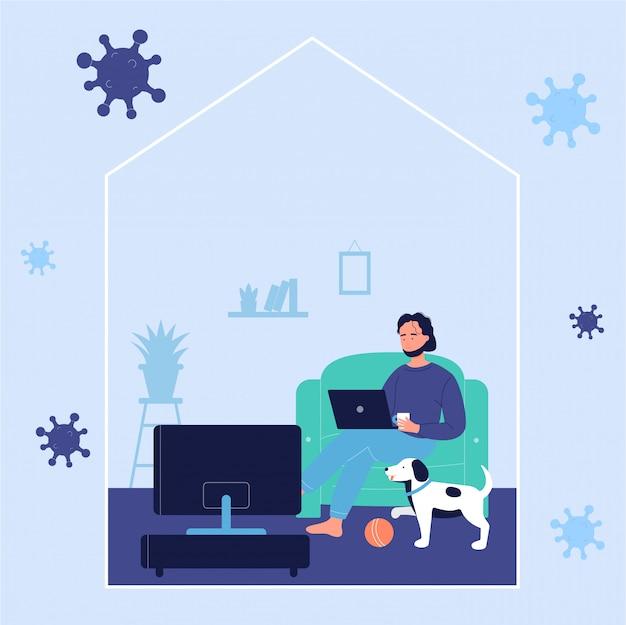 Młody człowiek odpoczywa na kanapie i pracuje online z laptopem w domu z psem podczas coronavirus czasu
