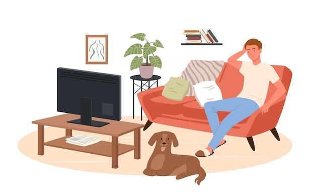 Młody człowiek ogląda telewizję w domu ilustracji wektorowych. kreskówka szczęśliwy mężczyzna postać siedzi na wygodnej kanapie kanapie wnętrza salonu, aby oglądać wiadomości telewizyjne, film filmowy lub program na białym tle