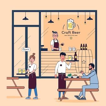 Młody człowiek otwiera mały sklep z piwem, zatrudnia dwóch pracowników, a firma rośnie i klienci przychodzą codziennie na piwo. ilustracja płaska