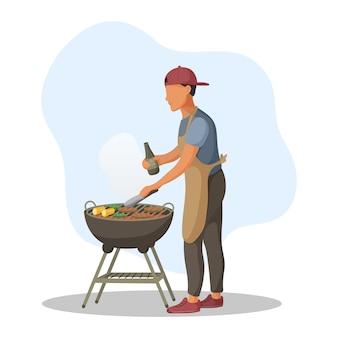 Młody człowiek piec na grillu mięso i warzywa w ogniu. impreza grillowa. ilustracja.