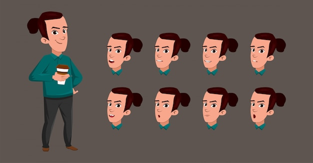 Młody człowiek pije kawową chłopiec charakteru kreskówkę z różnym wyrazem twarzy