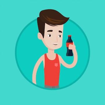 Młody człowiek pije sodowaną wektorową ilustrację.