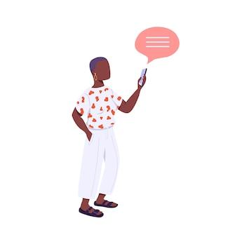 Młody człowiek płaski kolor bez twarzy. styl życia generacji z. afroamerykanin kobieta trzyma smartphone ilustracja kreskówka na białym tle do projektowania grafiki internetowej i animacji