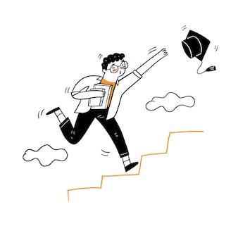 Młody człowiek podbiega do schodów, aby chwycić czapkę ukończenia szkoły, ilustracja kreskówka styl gryzmoły