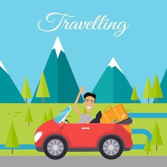 Młody człowiek podróżujący samochodem