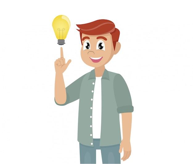 Młody człowiek pokazuje gest. rozwiązanie problemu świetny pomysł.