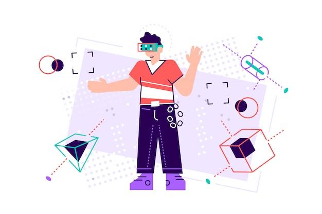 Młody człowiek poruszający się po obiektach za pomocą wirtualnego zestawu słuchawkowego vr. ludzie ilustracji. nowoczesne innowacyjne technologie biznesowe. spotkania firmowe z użyciem okularów prawdziwych. płaski styl