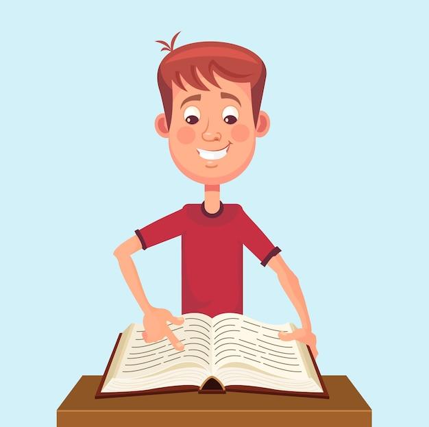 Młody człowiek postać studenta czytać książkę.