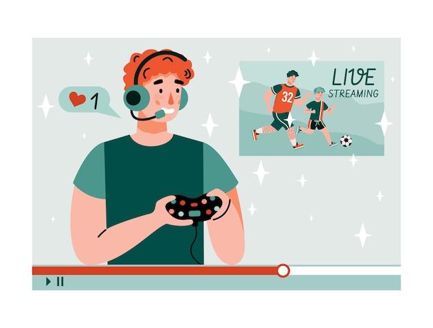 Młody człowiek przesyłający strumieniowo grę wideo przed kamerą dla subskrybentów i widzów