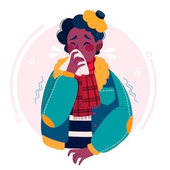 Młody człowiek przeziębiony