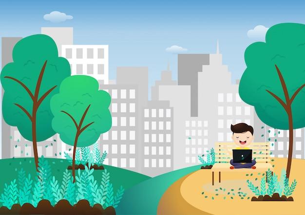 Młody człowiek relaksuje po pracy na laptopie siedząc w pozycji lotosu na zewnątrz. freelancer medytuje siedząc na huśtawce. wektor, ilustracja