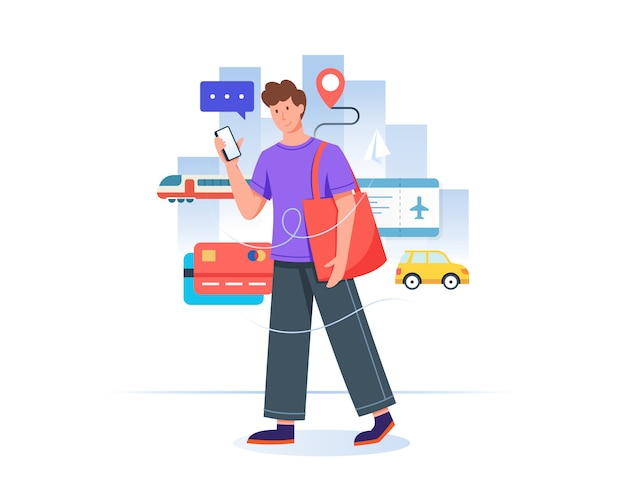 Młody człowiek rezerwuje bilet online z telefonem komórkowym