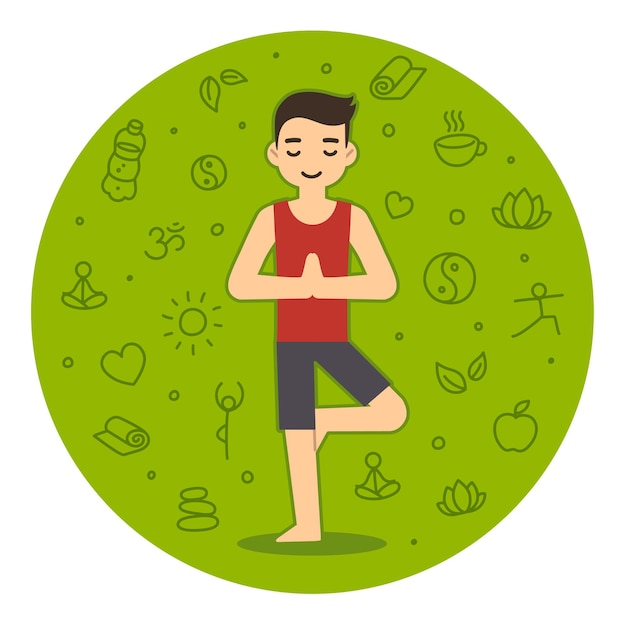 Młody człowiek robi jogę