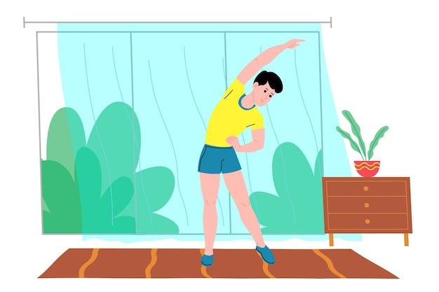 Młody człowiek robi sportowe ćwiczenia fizyczne, treningi w domu i fitness w domu podczas kwarantanny i prowadzi zdrowy tryb życia. ilustracja wektorowa płaski. ludzie, mężczyźni i kobiety, wykorzystujący dom jako siłownię.