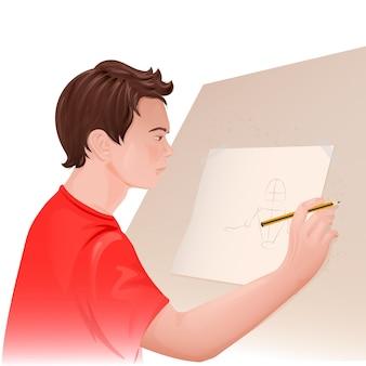 Młody człowiek rysunek
