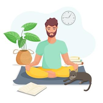 Młody człowiek siedzi w pozycji lotosu i medytuje w domu. pojęcie jogi, medytacji i relaksu. korzyści zdrowotne dla ciała, umysłu i emocji. płaska ilustracja.