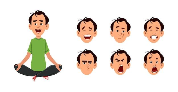 Młody człowiek siedzi w pozycji medytacji lub jogi. postać młodego człowieka z innym rodzajem wyrazu twarzy.