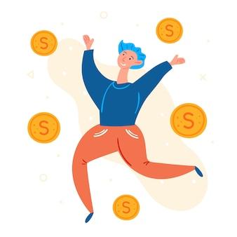 Młody człowiek skacze. latające złote monety dolara. pozytywny nastrój, uśmiechnięty. szczęśliwa osoba, zwycięzca, gracz. nowoczesny styl. płaskie ręcznie rysowane ilustracji
