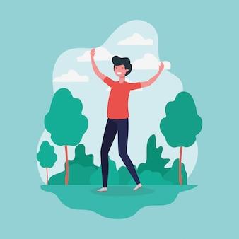 Młody człowiek skoki obchodzi w charakterze parku