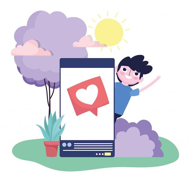 Młody człowiek smartphone miłość wiadomość na zewnątrz mediów społecznościowych