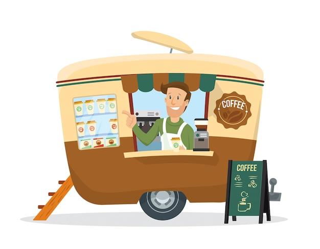 Młody człowiek sprzedaje kawę na przyczepie napoju