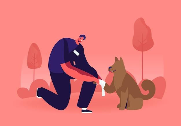 Młody człowiek stojący na bandaż kolana bezdomnego psa łapa. płaskie ilustracja kreskówka