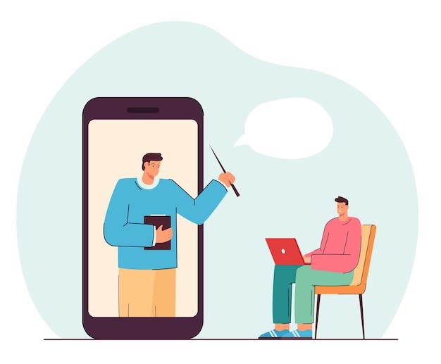 Młody człowiek studiuje online. płaska ilustracja wektorowa