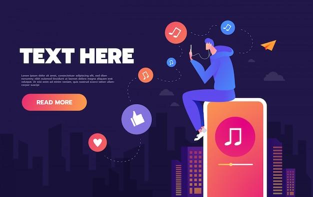 Młody człowiek tańczy do muzyki odtwarzanej na jego telefonie, koncepcji słuchania muzyki w sieciach społecznościowych, koncepcji strony docelowej i projektowania stron internetowych