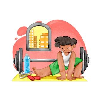 Młody człowiek trenuje w domu ilustrujący