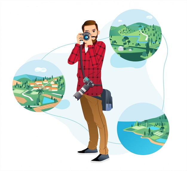Młody człowiek trzyma aparat i robienie zdjęć w krajobrazie przyrody z białym tłem