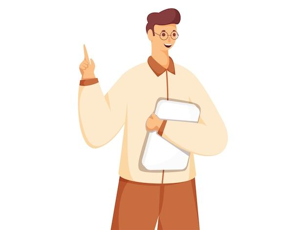 Młody człowiek trzyma książkę lub plik z palcem wskazującym w pozie stojącej.