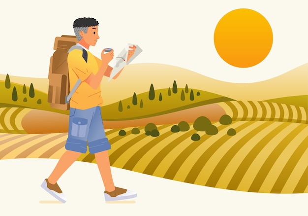 Młody człowiek turystyczny charakter, przynosząc plecak i mapę spacerując po zielonym polu