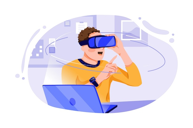 Młody człowiek ubrany w zestaw słuchawkowy wirtualnej rzeczywistości i gestykuluje siedząc przy biurku