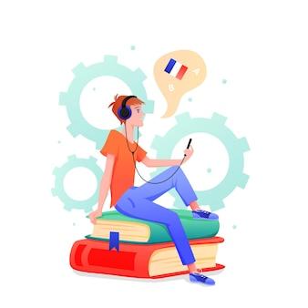 Młody człowiek uczy się języka obcego w ramach kursu online. student uczący się języka włoskiego i francuskiego