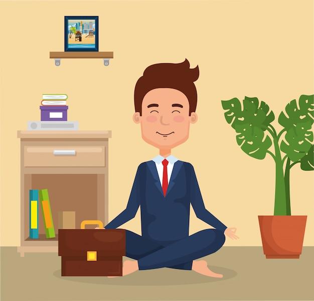 Młody człowiek uprawiania jogi