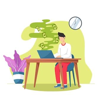 Młody człowiek używa laptop buduje online biznes robi dolarowym rachunkom spienięża spadać puszek, pieniądze lata z laptopu